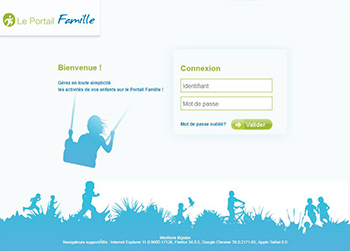 Page d'accueil portail Famille
