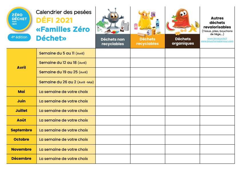 Tableau calendrier des pesées famille zéro déchet